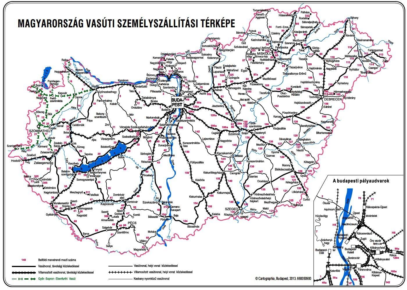 vasútvonal térkép Magyarország Vasúti Térképe vasútvonal térkép